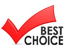 Best choice word with red check mark. 3D rendering Royalty Free Stock Photos