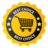 Best choice. Yellow badge with shopping basket in the center and text Royalty Free Stock Images