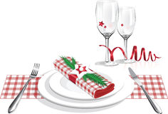 Best christmas dinner plates and glass vector Royalty Free Stock Image