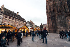 Best Christmas MArket atmosphere in Strasbourg Alsace Royalty Free Stock Photos
