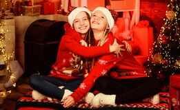 The best Christmas. New 2020 Year is coming. sisters spend family holiday together. Thank you santa. They love Christmas