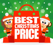 Best Christmas Price card with lion and monkey Stock Photo