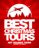 Best Christmas tours design template. Royalty Free Stock Photos