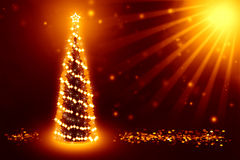 Best christmas tree background. Best background with christmas tree and golden coins around it Stock Photo