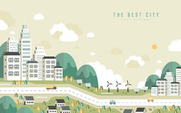 The best city scenery in flat design stock illustration