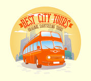 Best city tours design with double-decker bus background. Stock Image