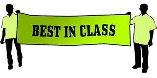 BEST IN CLASS on a green banner carried by two men. Illustration graphic Stock Photos