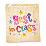Best in class. Notepad paper message with unique hand lettering Royalty Free Stock Photo