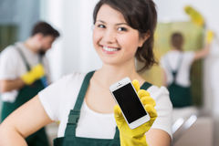 Best cleaners are waiting for work royalty free stock photo