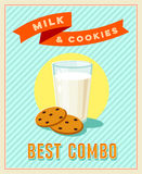 Best combo - vintage restaurant sign. Retro styled poster with glass of milk and cookies. Stock Photos