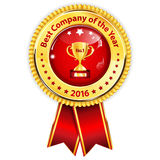 Best Company of the year 2016 - golden red award ribbon. / distinction for business purposes. Recognition gifts & appreciation gifts Stock Image