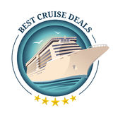 Best cruise deals illustration. Ship on round background. Travel offer design template. Vector eps 10. Best cruise deals illustration. Ship on round background stock illustration