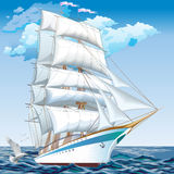 Best cruise ships. collection of yachts, ships and boats. Tall ship sailing on blue waters. Vector Royalty Free Illustration