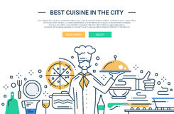 Best Cuisine In the City - line design website banner. Illustration of vector modern line flat design website banner, header with professional cooker holding Royalty Free Stock Image