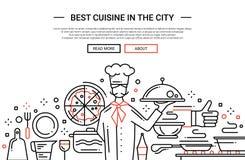 Best Cuisine In the City - line design website banner. Illustration of vector modern plain line flat design website banner, header with professional cooker Stock Photo