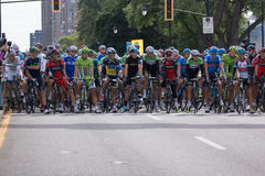 Best cyclists in the world prepare to take on second leg of the. MONTREAL, CANADA, SEPTEMBER 15TH 2013 - Peter SAGAN, Alberto CONTADOR, Christopher FROOME Royalty Free Stock Photos