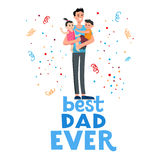 Best dad card. Cartoon characters of family. Dad and his children celebrating father`s Day. Inscription Best dad ever Stock Photos