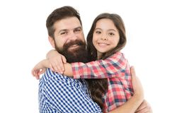 Best dad ever. Father and daughter hug white background. Child and dad best friends. Friendly relations. Parenthood and stock images