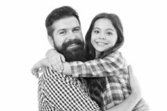 Best dad ever. Father and daughter hug white background. Child and dad best friends. Friendly relations. Parenthood and. Childhood. Fathers day concept. Lovely royalty free stock photography