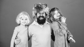 Best dad ever. Father hug daughters. Just for fun. Party time. How crazy is your father. Man bearded father and kids stock images