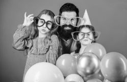 Best dad ever. Fathers day. Daughters need father actively interested in life. Birthday party. Father with two daughters. Having fun. Fatherhood concept royalty free stock images