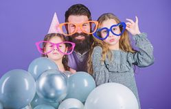 Best dad ever. Fathers day. Daughters need father actively interested in life. Birthday party. Father with two daughters. Having fun. Fatherhood concept stock images