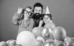 Best dad ever. Friendly family wear funny party accessories. Fathers day. Daughters need father actively interested in. Life. Birthday party. Father with two royalty free stock photography