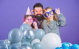 Best dad ever. Friendly family wear funny party accessories. Fathers day. Daughters need father actively interested in. Life. Birthday party. Father with two stock images