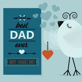 Best DAD ever and Happy Fathers Day blue card. Cute little bird holding a pendant close up Stock Images