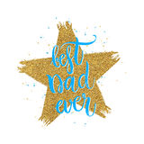 Best dad ever lettering in shape gold glitter star Stock Photography