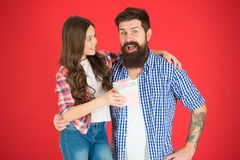 For best dad ever. Man bearded father and cute little girl daughter on red background. Celebrate fathers day. Family royalty free stock photos
