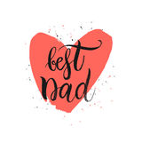 Best Dad lettering in shape red heart. Happy Fathers Day Card, Best Dad lettering in shape red heart, design for greeting card, poster, banner, printing, mailing Stock Photo