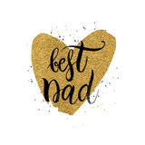 Best dad text in shape gold glitter heart Royalty Free Stock Photos