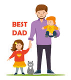Best Dad for to daughter and son. Flat illustration. Royalty Free Stock Photos