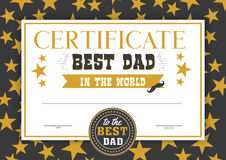 Best dad in the world certificate. Special and perfect father diploma award, congratulation in festive design with bright golden stars, black frame. Vector Stock Images