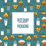 Best dairy product seamless pattern. For packaging with different dairy icons in line style design, vector illustration. Organic farming background. Traditional Stock Image