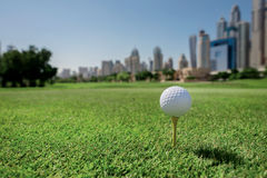 The best day for golfing. Golf ball is on the tee for a golf bal Stock Photography