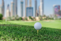 The best day for golfing. Golf ball is on the tee for a golf bal Royalty Free Stock Images