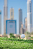 The best day for golfing. Golf ball is on the tee for a golf bal Stock Photos