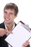 Best deal!. Happy young businessman pointing to the best deal ever royalty free stock images