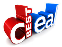 Best deal. Written in a unique way, in red and blue colors on white background Royalty Free Stock Photo