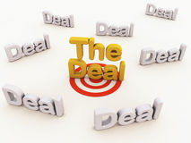 Best deal or bargain. The deal words in color and on target amongst many deals in grey, showing best deal concept Stock Photos