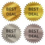 Best deal guarantee label. Best deal 3d rendered 4 color tag , golden guarantee label Stock Illustration