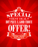 Best deal design template. Best deal, special offer design template Royalty Free Stock Image