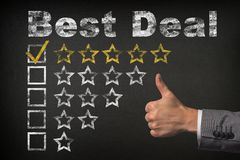 Best deal five 5 star rating. thumbs up service golden rating stars on chalkboard stock images
