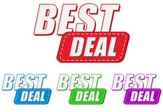 Best deal, four colors labels Stock Photos