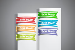 Best Deal Labels. A set of colourful labels with 'Best Deal!' wordings at the white paper corner Stock Photography