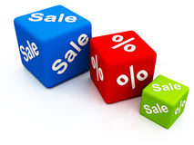 Best deal on sales. Sales and percentage off dice, 3 pieces of dice showing the concept of discount and price off Royalty Free Stock Photo