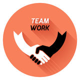 Best deal. team work.. Creative concept black white icon handshake. background for business and finance. idea, team,best deal, teame work. Flat  design Stock Image
