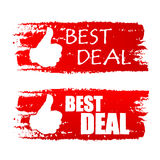 Best deal with thumb up sign, red drawn labels Stock Images